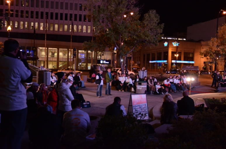 CEO's and onlookers gather at 201 Portage Ave, Winnipeg MB. September 27, 2012.