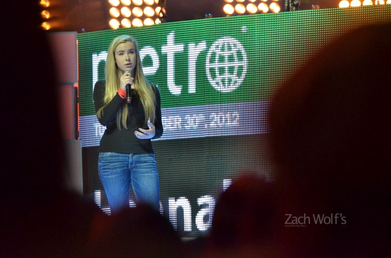 Hannah Taylor addresses We Day.