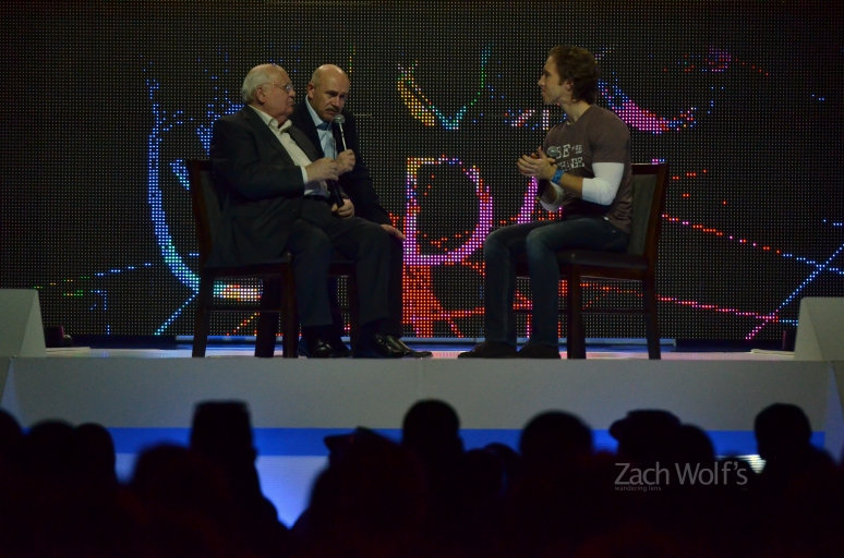 Former Russian President Mikhail Gorbachev (left) speaks to We Day co-founder Craig Kielsburger (right) through a translator. Gorbachev, a Nobel Peace Prize winner, was in Winnipeg to speak to 18,000 school children on the importance of nuclear disarmament among other topics, October 30, 2012.